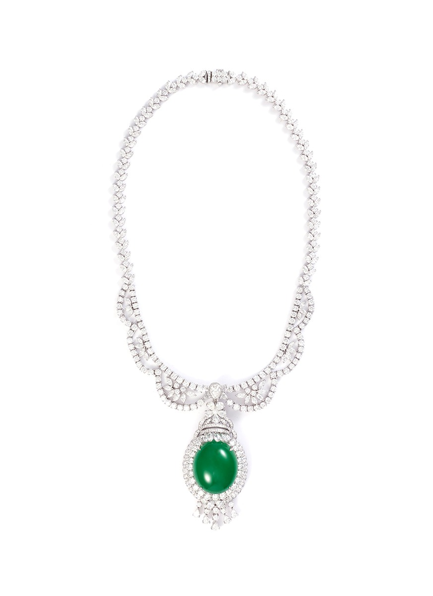 LC Collection Green Jade Diamond jade 18k white gold pendant necklace