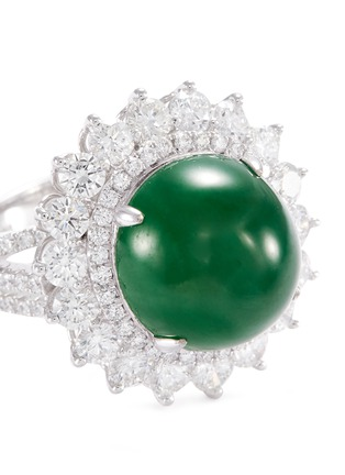Detail View - Click To Enlarge - LC COLLECTION JADE - Diamond jade 18k gold ring