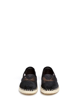 Front View - Click To Enlarge - 90294 - Classic suede mesh espadrille slip-ons