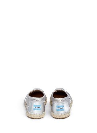 Back View - Click To Enlarge - 90294 - Classic metallic leather mesh espadrille slip-ons