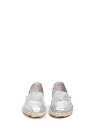 Front View - Click To Enlarge - 90294 - Classic metallic leather mesh espadrille slip-ons