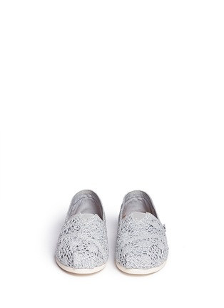 Front View - Click To Enlarge - 90294 - Classic metallic crochet slip-ons
