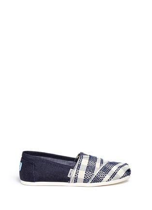 Main View - Click To Enlarge - 90294 - Classic stripe canvas denim combo slip-ons
