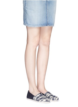 Figure View - Click To Enlarge - 90294 - Classic stripe canvas denim combo slip-ons
