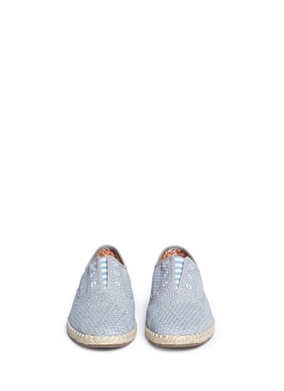 Front View - Click To Enlarge - 90294 - 'Palmera' dot stitch chambray slip-on sneakers