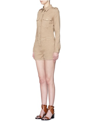 Front View - Click To Enlarge - Frame Denim - 'Citadel' cotton twill military rompers
