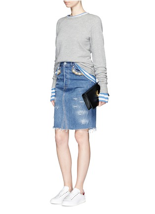 Figure View - Click To Enlarge - Forte Couture - 'Longuette Le Bon' faux pearl chain distressed skirt