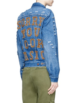 Back View - Click To Enlarge - Forte Couture - 'AZA' hand embroidery back distressed denim jacket