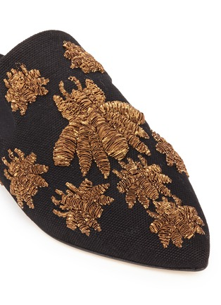 Detail View - Click To Enlarge - SANAYI 313 - 'Ragno' metallic floral embroidery canvas slippers