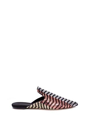 Main View - Click To Enlarge - SANAYI 313 - 'Disco' chevron stripe metallic raffia slippers