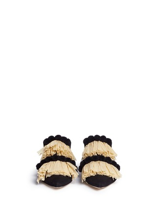 Front View - Click To Enlarge - SANAYI 313 - Pompom raffia fringe canvas slippers