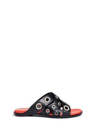 Main View - Click To Enlarge - Proenza Schouler - Variegated grommet crisscross leather slide sandals