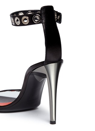 Detail View - Click To Enlarge - Proenza Schouler - 'Grommet' acetate heel leather strap sandals