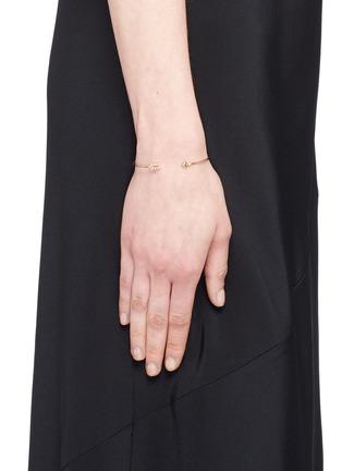 Figure View - Click To Enlarge - Mizuki - 'Sea of Beauty' diamond 14k gold wire arrow cuff