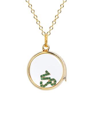 Figure View - Click To Enlarge - Loquet London - 18k yellow gold emerald zodiac charm - Capricorn