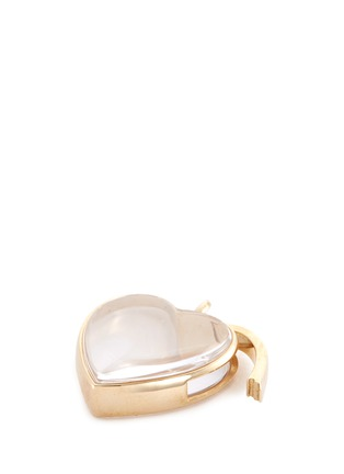 Detail View - Click To Enlarge - Loquet London - 14K YELLOW GOLD ROCK CRYSTAL HEART LOCKET – LARGE 22MM