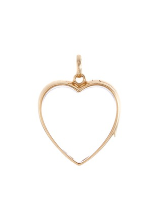 Main View - Click To Enlarge - Loquet London - 14K YELLOW GOLD ROCK CRYSTAL HEART LOCKET – LARGE 22MM