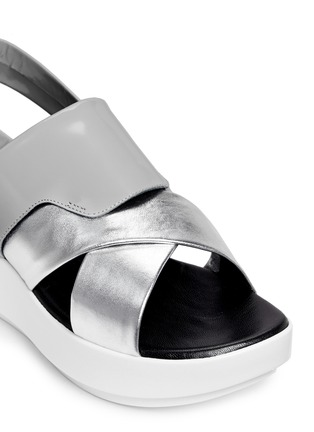Detail View - Click To Enlarge - CLERGERIE - 'Phator' mix leather platform sandals