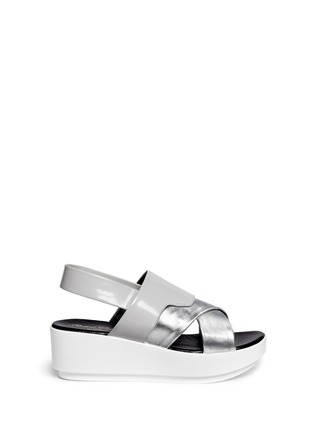 Main View - Click To Enlarge - CLERGERIE - 'Phator' mix leather platform sandals