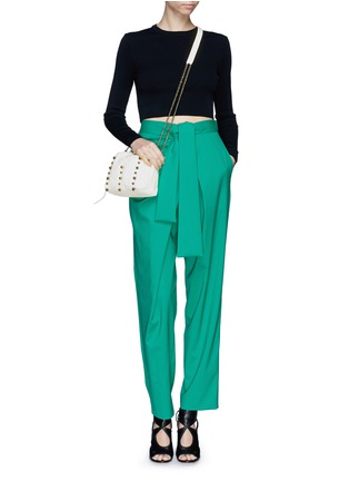 Figure View - Click To Enlarge - Lanvin - 'Baby Sugar' metal pearl leather crossbody bag