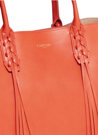 Detail View - Click To Enlarge - Lanvin - 'Shopper' lace up tassel leather tote