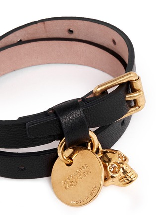 Detail View - Click To Enlarge - ALEXANDER MCQUEEN - Skull charm double wrap leather bracelet