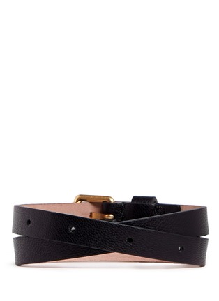 Back View - Click To Enlarge - ALEXANDER MCQUEEN - Skull charm double wrap leather bracelet