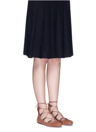 Figure View - Click To Enlarge - Alaïa - Graduating eyelet suede lace-up ghillie flats