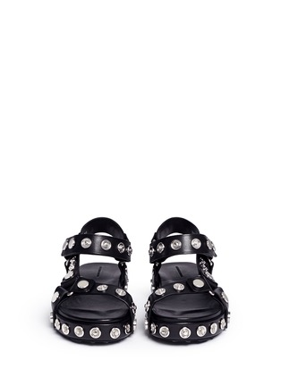 Front View - Click To Enlarge - Alexander Wang  - 'Aiden' snap stud leather platform sandals