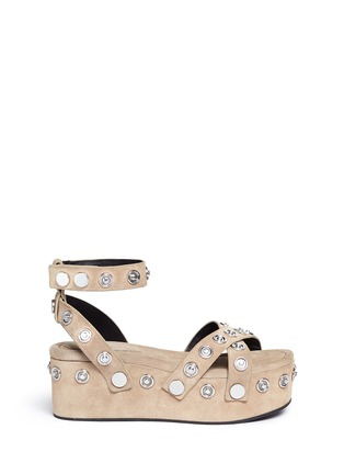 Main View - Click To Enlarge - Alexander Wang  - 'Sandrah' snap stud suede platform sandals