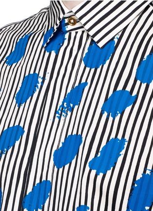 Detail View - Click To Enlarge - Paul Smith - Paint print stripe cotton-modal-cashmere shirt