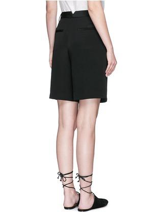 Back View - Click To Enlarge - Tibi - Wide leg silk morocain shorts