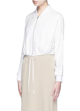 Front View - Click To Enlarge - Tibi - All over sequin silk drawstring bomber jacket