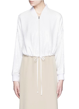 Main View - Click To Enlarge - Tibi - All over sequin silk drawstring bomber jacket