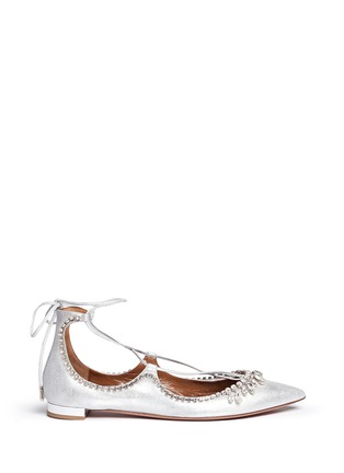 Main View - Click To Enlarge - Aquazzura - 'Christy' crystal fringe metallic suede lace-up flats