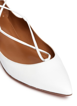 Detail View - Click To Enlarge - Aquazzura - 'Christy' lace-up nappa leather flats