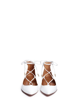 Front View - Click To Enlarge - Aquazzura - 'Christy' lace-up nappa leather flats