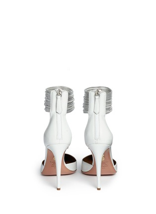 Back View - Click To Enlarge - Aquazzura - 'Hello Lover' metallic anklet leather d'Orsay pumps