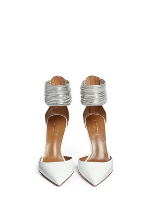 Front View - Click To Enlarge - Aquazzura - 'Hello Lover' metallic anklet leather d'Orsay pumps