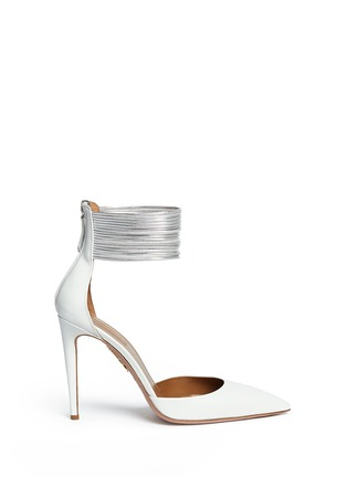 Main View - Click To Enlarge - Aquazzura - 'Hello Lover' metallic anklet leather d'Orsay pumps