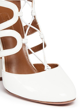 Detail View - Click To Enlarge - Aquazzura - 'Holli' caged patent leather pumps