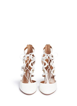 Front View - Click To Enlarge - Aquazzura - 'Holli' caged patent leather pumps