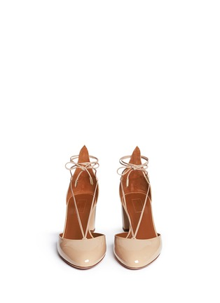 Front View - Click To Enlarge - Aquazzura - 'Alexa' patent leather ankle tie pumps