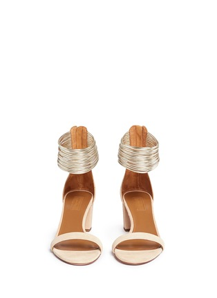 Front View - Click To Enlarge - Aquazzura - 'Spin Me Around' metalllic anklet suede sandals