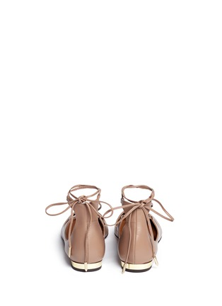 Back View - Click To Enlarge - Aquazzura - 'Christy' lace-up calfskin leather flats