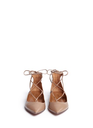 Front View - Click To Enlarge - AQUAZZURA - 'Christy' lace-up calfskin leather flats