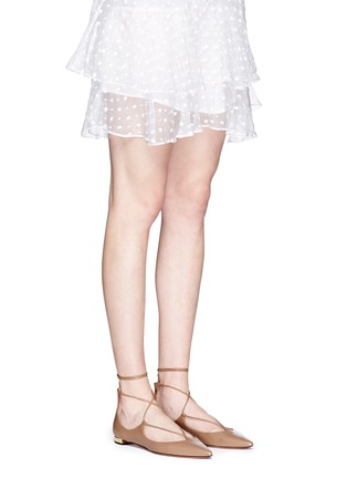 Figure View - Click To Enlarge - AQUAZZURA - 'Christy' lace-up calfskin leather flats