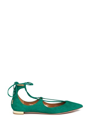 Main View - Click To Enlarge - Aquazzura - 'Christy' lace-up suede flats