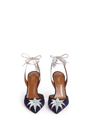 Front View - Click To Enlarge - Aquazzura - x Poppy Delevingne 'Midnight' star suede d'Orsay pumps
