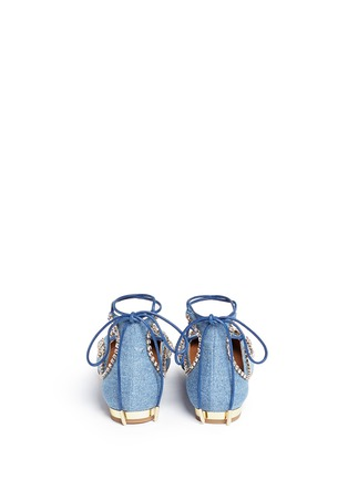 Back View - Click To Enlarge - Aquazzura - 'Christy' strass lace-up denim flats
